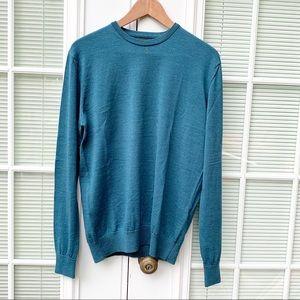 Zara Man Wool Crewneck Pullover Blue Sweater